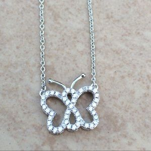 Rhodium Plated Cubic Zirconia Butterfly Pendant
